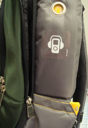 Kensington Contour Cargo Notebook Backpack, side view showing music player and water bottle pockets
